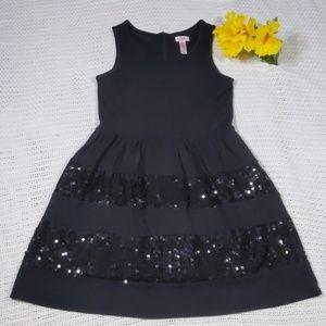 JUSTICE SEQUIN SLEEVELESS BLACK DRESS GIRLS SZ 18